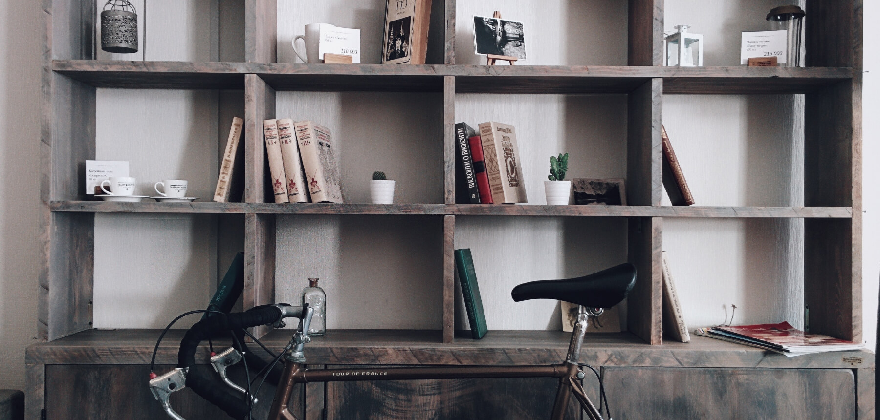 Bike and bookshelf